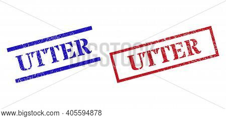 Grunge Utter Rubber Stamps In Red And Blue Colors. Seals Have Draft Style. Vector Rubber Imitations