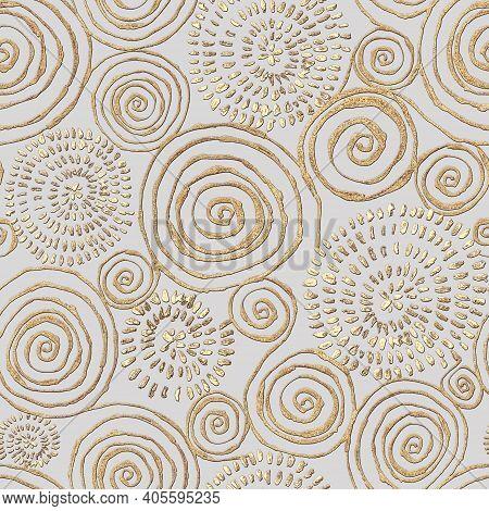 Abstract Seamless Pattern With 3d Golden Glittering Acrylic Paint Round Spiral Circles On Gray Backg