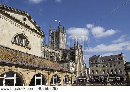 Bath, Uk - April 10, 2019. Bath Abbey An Anglican Parish Church And Former Benedictine Monastery Fou