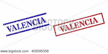 Grunge Valencia Stamp Seals In Red And Blue Colors. Seals Have Rubber Surface. Vector Rubber Imitati
