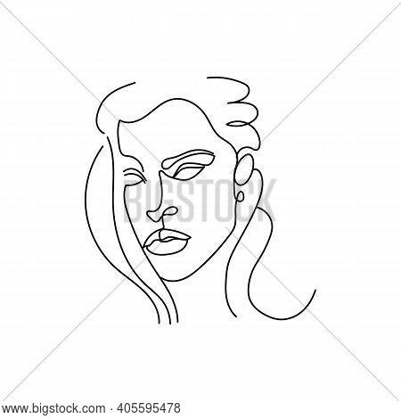 Elegant Woman Portrait Continuous Line Art. Minimalistic Icon. Pretty Face, Long Hair, Casual Earrin