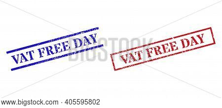 Grunge Vat Free Day Rubber Stamps In Red And Blue Colors. Stamps Have Rubber Style. Vector Rubber Im