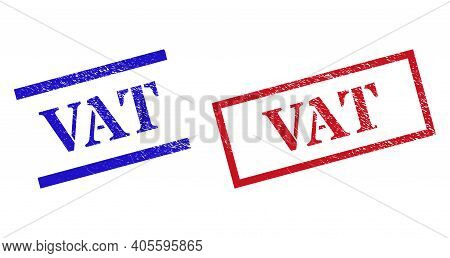 Grunge Vat Rubber Stamps In Red And Blue Colors. Stamps Have Rubber Style. Vector Rubber Imitations