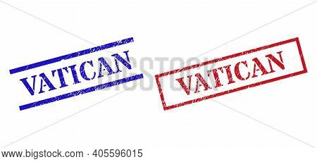 Grunge Vatican Rubber Stamps In Red And Blue Colors. Stamps Have Rubber Style. Vector Rubber Imitati