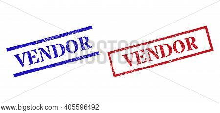 Grunge Vendor Rubber Stamps In Red And Blue Colors. Stamps Have Distress Style. Vector Rubber Imitat