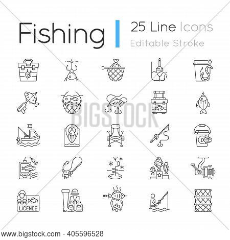 Fishing Equipment Linear Icons Set. Cooking Freshly Caught Fish. Fish Finder, Fishing Tournament. Cu
