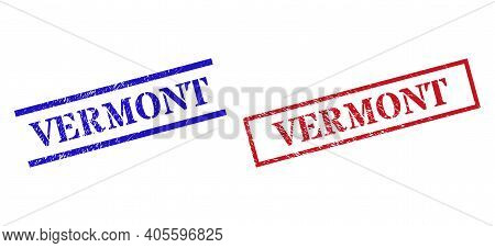 Grunge Vermont Rubber Stamps In Red And Blue Colors. Stamps Have Rubber Style. Vector Rubber Imitati