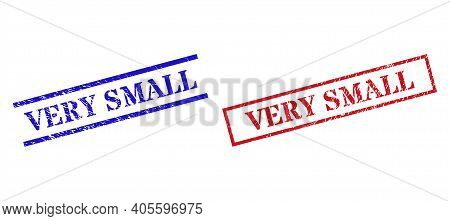 Grunge Very Small Rubber Stamps In Red And Blue Colors. Stamps Have Rubber Surface. Vector Rubber Im