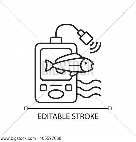 Fish Finder Linear Icon. Fishers Equipment. Efficient Fishing. Basic Fishing Gear. Thin Line Customi