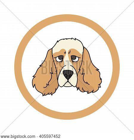 Cute Cartoon Cocker Spaniel Face In Circle Dog Vector Clipart. Pedigree Kennel Doggie Breed For Kenn