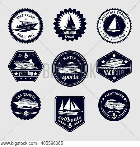 Elite World Water Sport Yacht Club Sailboat Sea Travel Design Labels Set Black Icons Isolated Vector