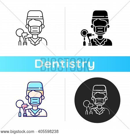 Dentist Icon. Dental Cavity Care. Professional Medical Assistance. Elimination Of Toothache. Dentist