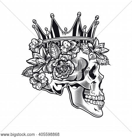 Side View Of Vintage Royal Skull In Flowers Vector Illustration. Monochrome King Skull In Crown With