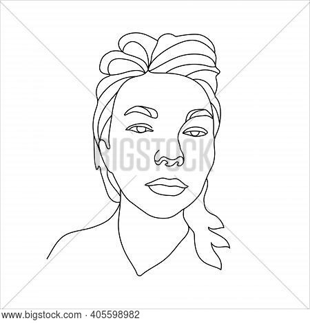 Outline Of Beautyfull Girl Face. Minimalist Black White Drawing Artwork. Logo For Organic Cosmetics,