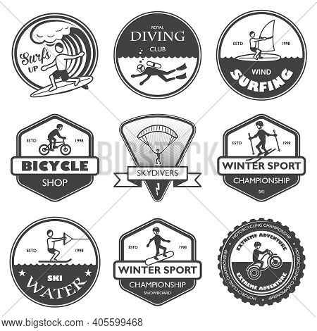Vacation Travel Extreme Sports Labels Set Of Rafting Cross Country Climbing And Snowboard Vector Ill