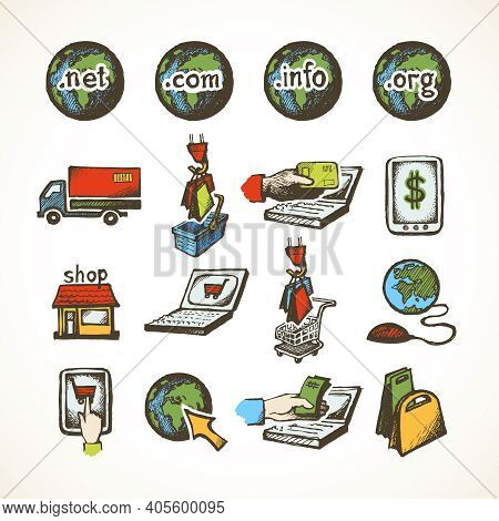 Business Internet Online Shopping Icons Set Of Ecommerce Retail Domains Cart Purchase And Global Del