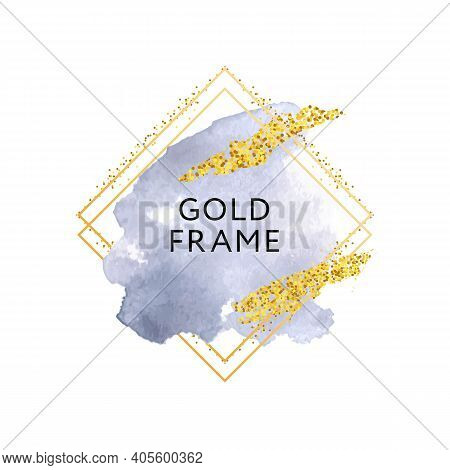 Gray Watercolor Brush Stroke Luxury Design With Silver Glitter Strokes And Circle Frame. Pastel Roun
