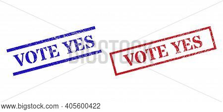 Grunge Vote Yes Rubber Stamps In Red And Blue Colors. Seals Have Rubber Texture. Vector Rubber Imita