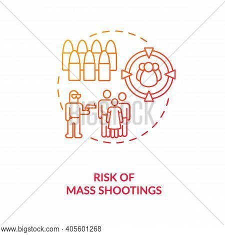 Risk Of Mass Shooting Red Gradient Concept Icon. Terrorist With Firearm. Life Threat. Public Assault