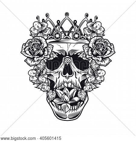 Black King Skull Surrounded By Pretty Flowers Vector Illustration. Retro Dead Head In Crown. Tattoo
