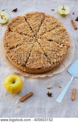 Freshly baked homemade double crutsed apple crumb pie. Sweet food from above,
