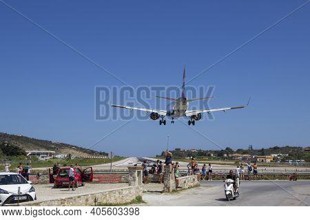 Skiathos, Greece - August 13, 2019. Aeroplane Landing At Skiathos Airport, Skiathos Town, Greece, Au