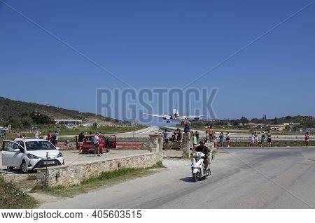 Skiathos, Greece - August 13, 2019. Aeroplane Taking Off At Skiathos Airport, Skiathos Town, Greece,