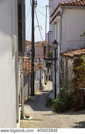 Skiathos, Greece - August 13, 2019. Streets And Alleyways, Skiathos Town, Greece, August 13, 2019.