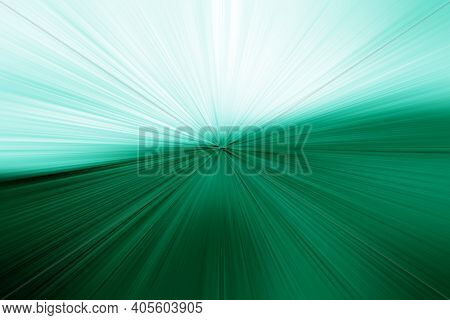 Abstract Radial Blur Zoom Surface In Emerald And Turquoise Colors. Abstract Emerald Background With