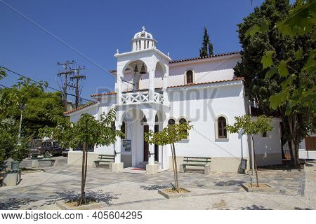 Skiathos, Greece - August 13, 2019. Church Bell Tower, Skiathos Town, Greece, August 13, 2019.