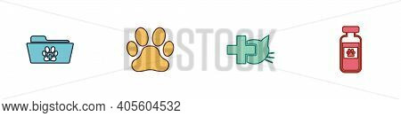 Set Medical Veterinary Record Folder, Paw Print, Veterinary Clinic And Pets Vial Medical Icon. Vecto