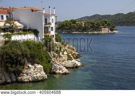 Skiathos, Greece - August 13, 2019. Traditional House Overlooking Harbour, Skiathos Town, Greece, Au