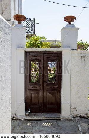 Skiathos, Greece - August 13, 2019. Door On Traditional House, Skiathos Town, Greece, August 13, 201