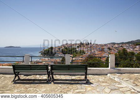 Panoramic View Of The Skiathos Town, Skiathos Island, Greece