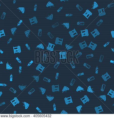 Set Slice Of Pizza, Burrito, Pizzeria Building Facade And Bottle Water On Seamless Pattern. Vector