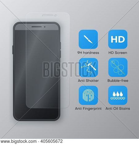 Screen Protector Glass For Smartphone, Cell Mobile Phone Realistic Template, Blue Icons For It.