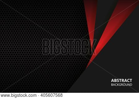 Dark Abstract Background With Carbon Fiber And Triangular Shapes. Red And Black Triangular Geometric