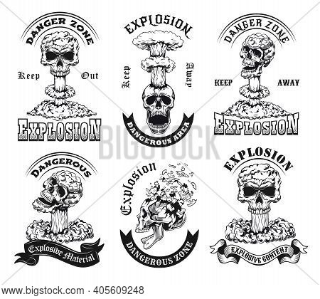 Monochrome Explosion Zone Emblems Vector Illustration Set. Vintage Stickers With Skulls In Nuclear E