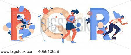 Letter P For Paintball, Q For Qianball And R For Roller Skating. Educative Sport Collection With You
