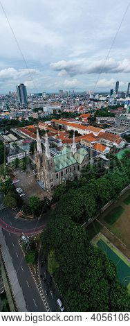 Aerial View Of Jakarta Cathedral. It Is The Largest Mosque In Southeast Asia And Noise Cloud With Ja