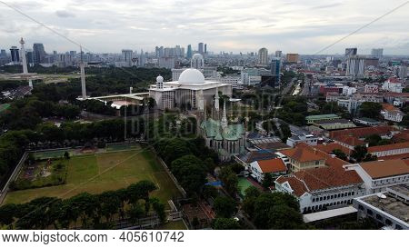 Aerial View Of Jakarta Cathedral And Istiqlal Mosque. It Is The Largest Mosque In Southeast Asia And