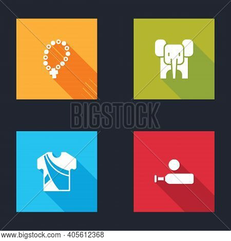 Set Rosary Beads Religion, Elephant, Indian Man Dress And Wood Cricket Bat And Ball Icon. Vector
