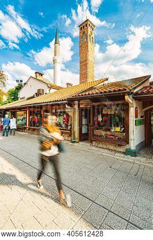Sarajevo, Bosnia And Herzegovina - September 9, 2015: Baščaršija Is Sarajevo's Old Bazaar And The Hi