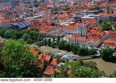 A Panoramic City View Of The Old Town Of Graz From The Grazer Schlossberg In Summer