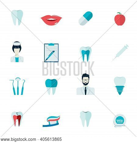 Dental Health And Caries Teeth Healthcare Instruments Dent Protection Flat Icons Set Isolated Vector