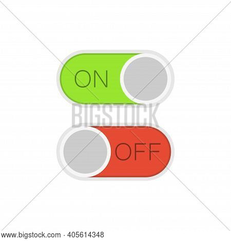 Colorful Toggle Switch Button In Flat Design. Template For Mobile And Web Applications. Green In On