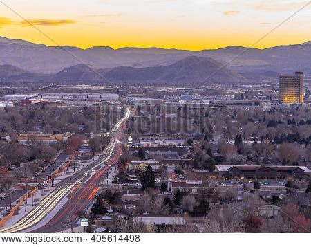 Sparks, Nevada Usa - December 29, 2018: Long Exposure View Of The City Of Sparks With Hotels, Casino