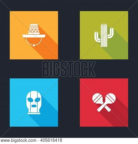 Set Mexican Sombrero, Cactus, Wrestler And Maracas Icon. Vector