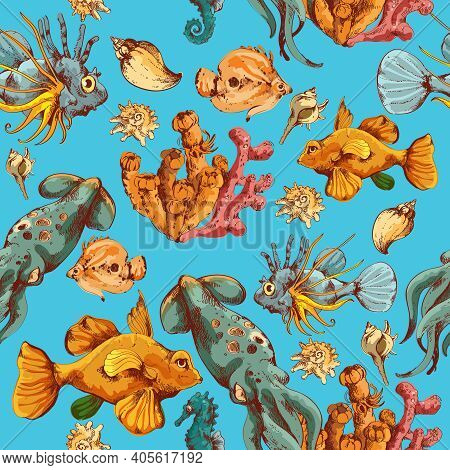 Sea Fishes And Ocean Creatures Sketch Colored Seamless Pattern Vector Illustration
