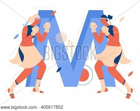 Two Young Woman During Muay Thai Sparring In Front Of Large Blue Letter M. Beautiful Uniform, Headba